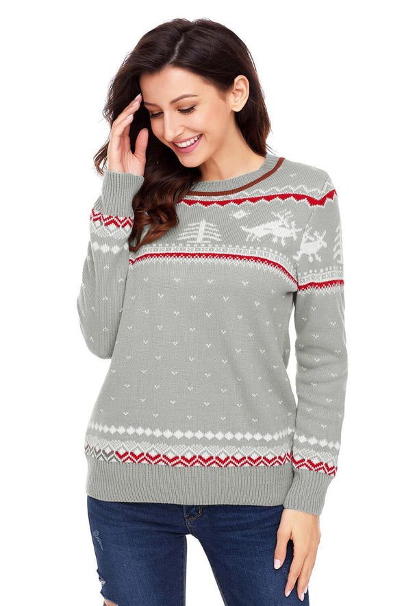 Christmas Reindeer Knit Sweater Winter Jumper