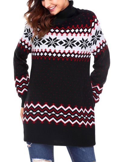 Christmas Snowflake Knit Turtleneck Jumper