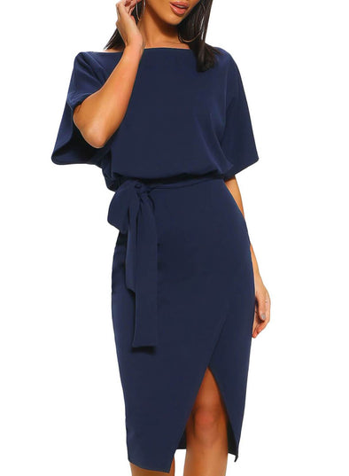 Belted Wrap Front Midi Dress