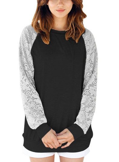 Lace Raglan Long Sleeve Casual Sweatshirt