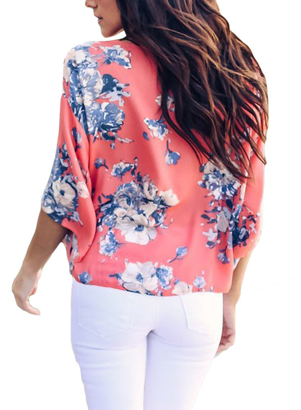 Womens Short Sleeve V Neck Floral Tie Front Flare Tops Chiffon Blouses