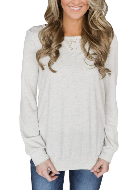 Lace Cutout Insert Charcoal Pullover Sweatshirt