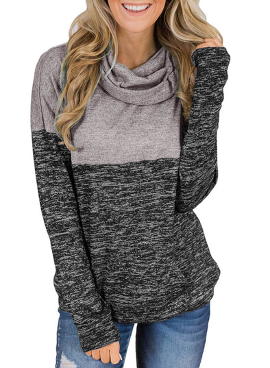 Charcoal Color Block Cowl Neck Sweatshirt