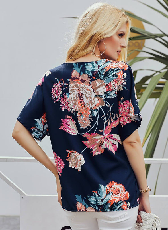 Floral Loose Twist Blouse