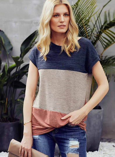 Color Block Twist Short Sleeve T Shirt