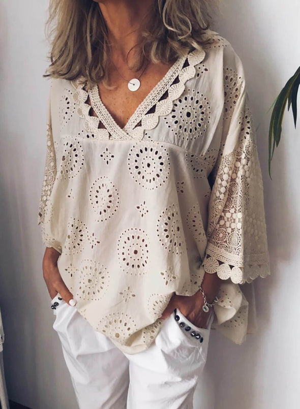 Openwork Embroidered Cotton and Linen Pullover