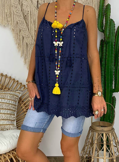 Cotton Embroidered Neckline Drawstring Tops