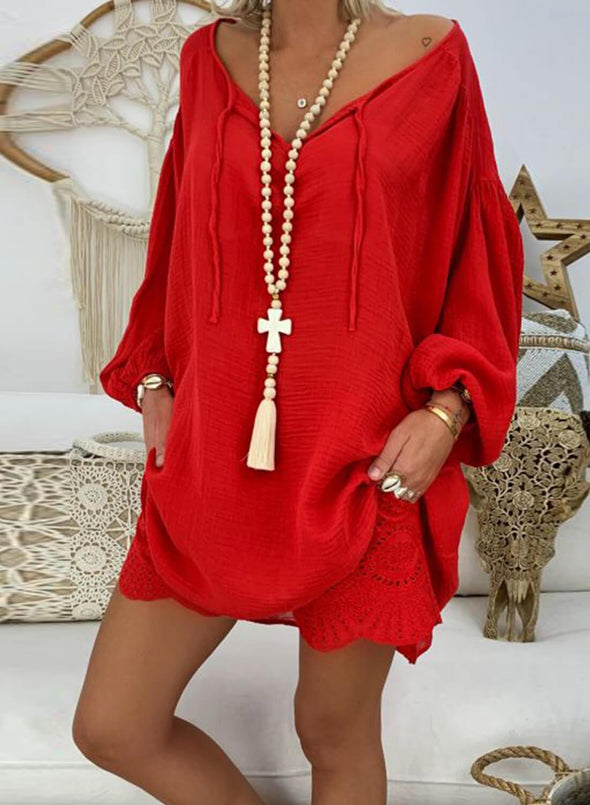 Solid V-Neck Cotton Tunic Top