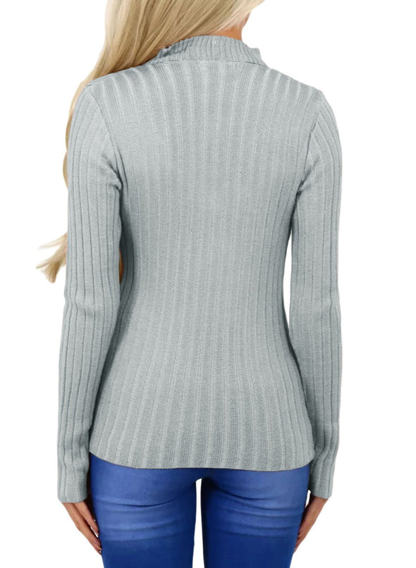 Ribbed Choker Neck Sweater