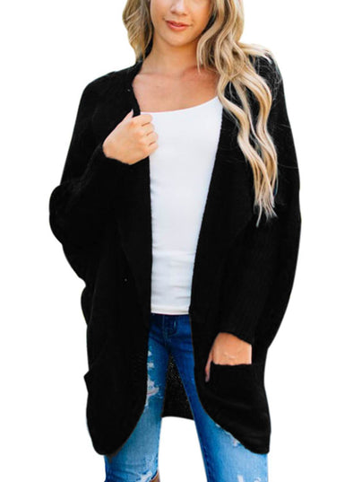 Dolman Sleeve Knit Cardigan with Pocket