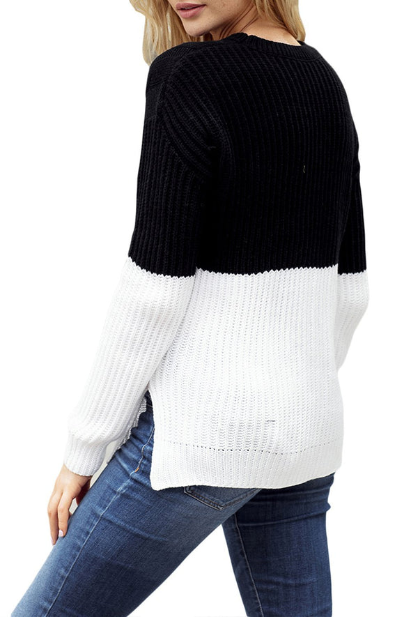 Long Sleeve Side Split Slit Cable Sweater Top