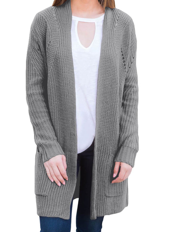 Open Front Women Cardigan with Pockets