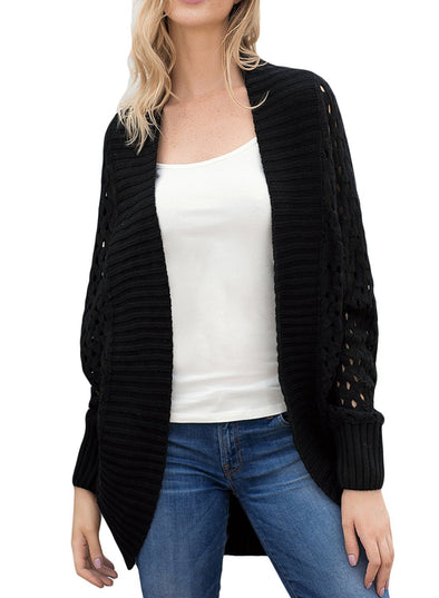 Hollow Out Knit Long Sleeve Cardigan