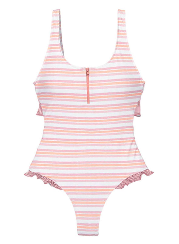 Ruffle V-Neck One-Piece Swimsuit