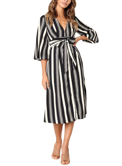 Gap Striped V Neck Midi Shirt Dress