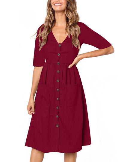 Long-Sleeved Ruched Casual Midi Dress with Pocket