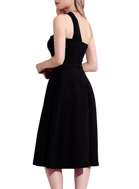 Asymmetric One Shoulder Flared Midi Dress