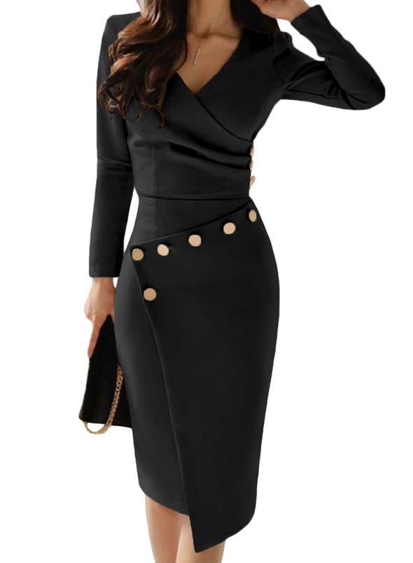 Long Sleeve V Neck Bodycon Midi Dress