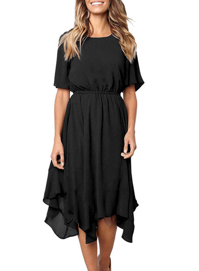 Chiffon Irregular Hem Short Sleeve Pleated Dress