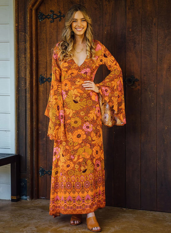 Majesty Dress in Old Gold