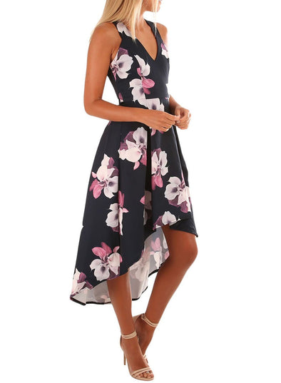 Floral High Low Hem Midi Dress
