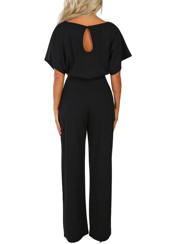 Front Knot Short Sleeve Jumpsuit (LC64520-2-2)