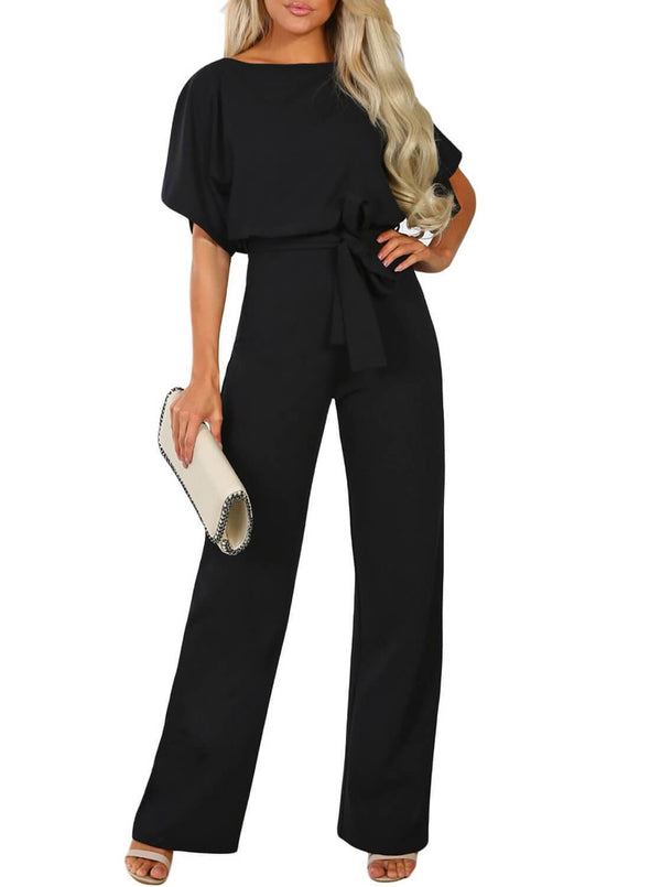Front Knot Short Sleeve Jumpsuit (LC64520-2-1)