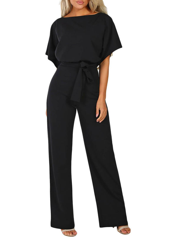 Front Knot Short Sleeve Jumpsuit (LC64520-2-3)