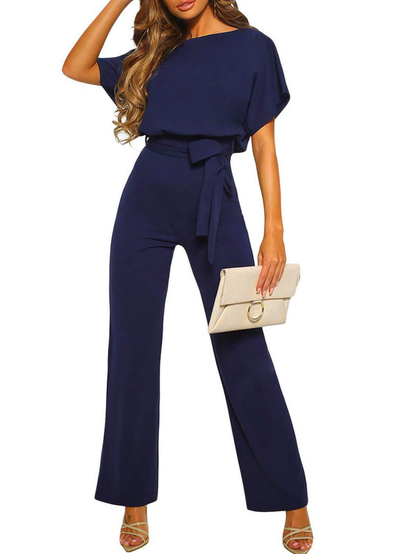Front Knot Short Sleeve Jumpsuit (LC64520-5-1)