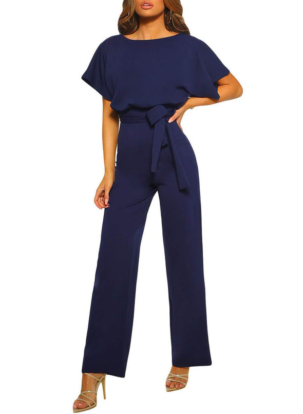 Front Knot Short Sleeve Jumpsuit (LC64520-5-3)