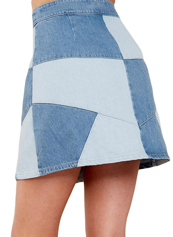 Snaps Casual Patchwork Denim Skirt