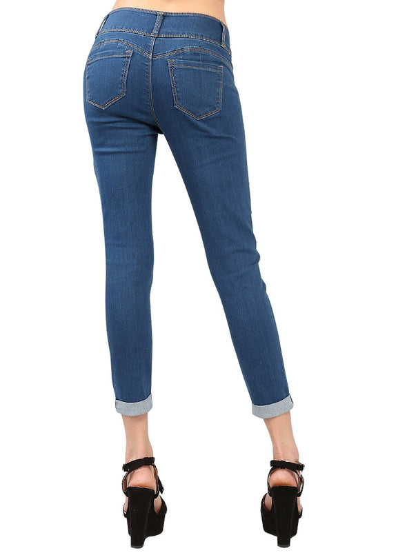 Cuffed Butt Lifting Skinny Jeans
