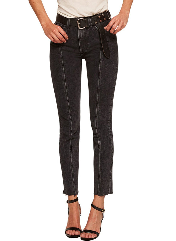 Designful Seam Accent Raw Hem Jeans