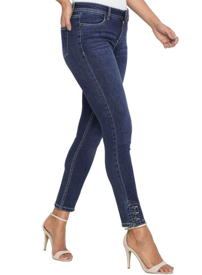 Silver Button Detail Dark Blue Wash Skinny Jeans