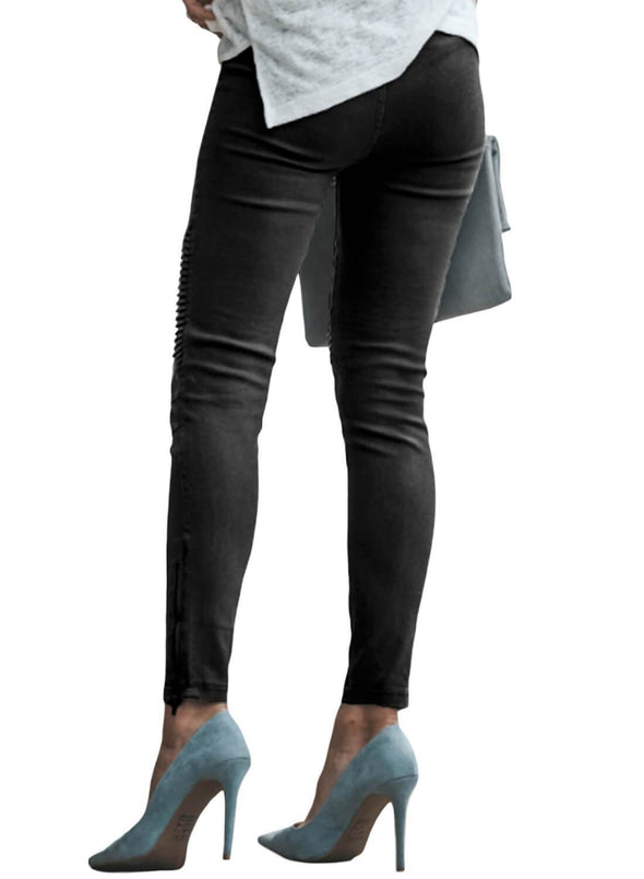 Patched Ruched Zip Bottom Skinny Jeans (LC786101-2-2)