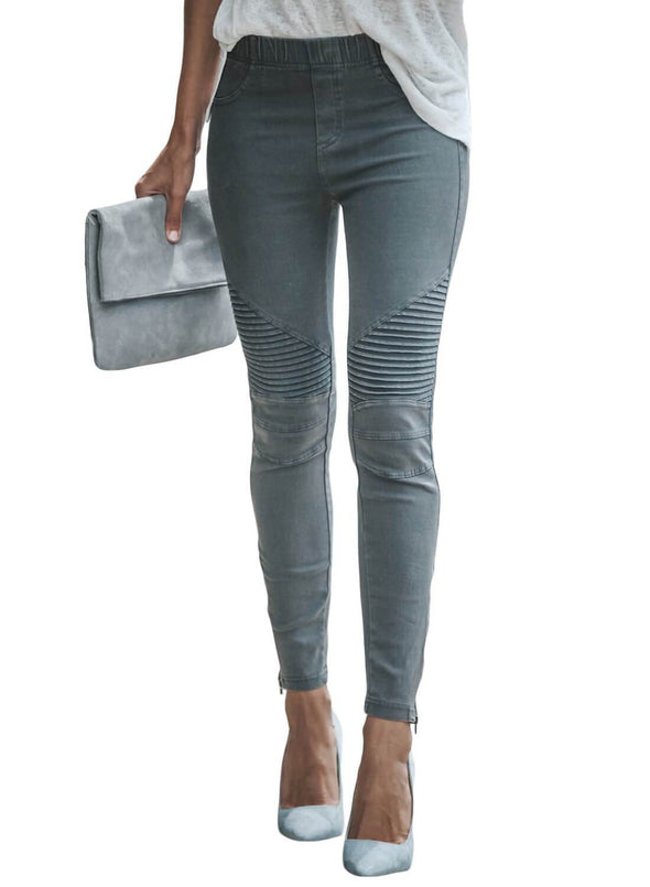 Patched Ruched Zip Bottom Skinny Jeans (LC786101-5-2)
