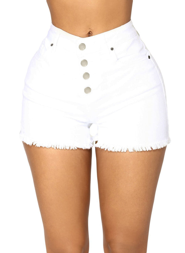High Waisted Distressed Denim Shorts (LC786105-1-1)