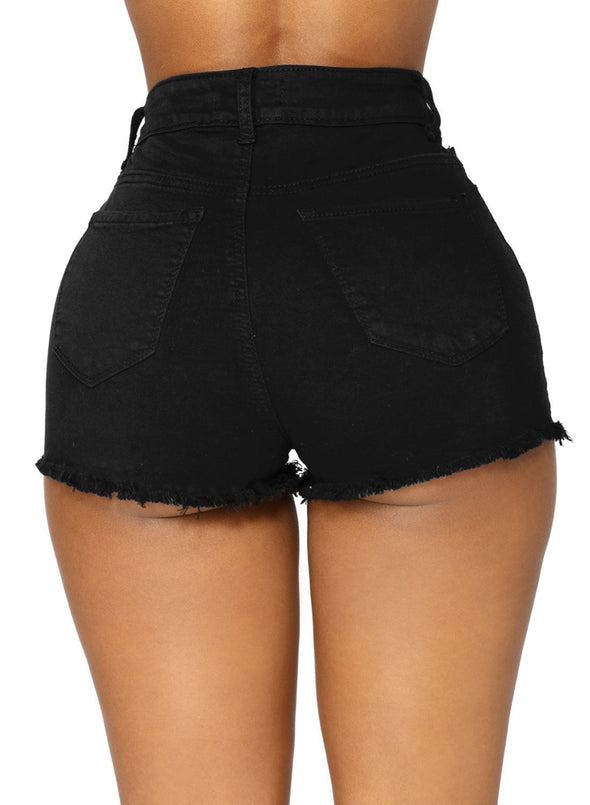 High Waisted Distressed Denim Shorts (LC786105-2-2)