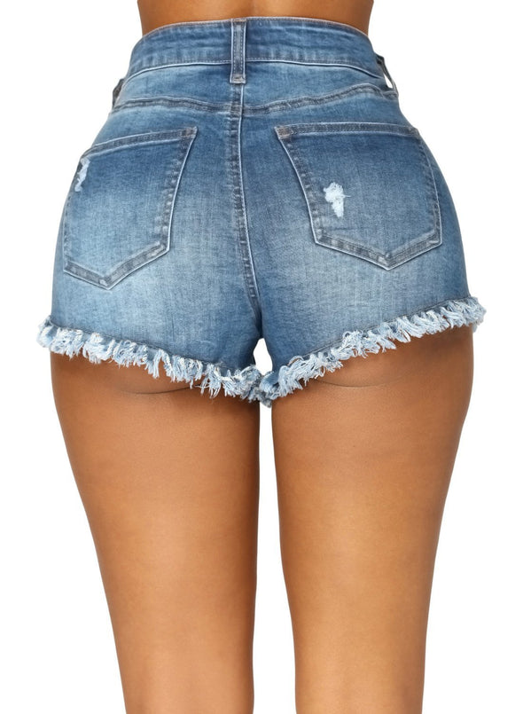 High Waisted Distressed Denim Shorts (LC786105-5-2)