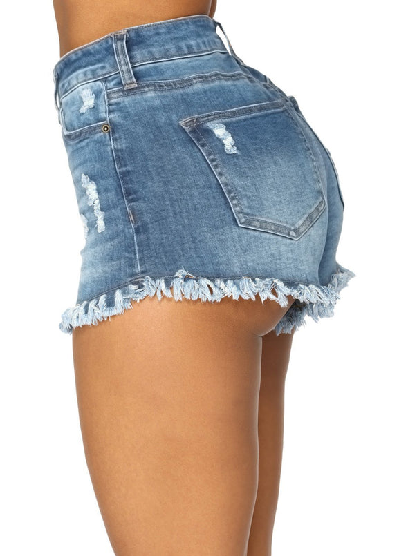 High Waisted Distressed Denim Shorts (LC786105-5-3)