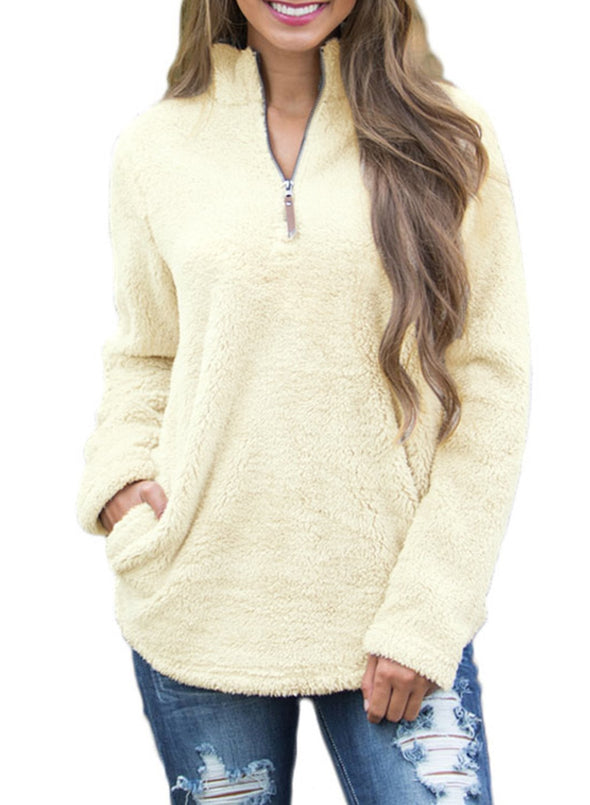 1/4 Zip Fleece Pullover Jacket Sweaters