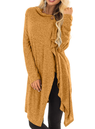 Draped Open Front Asymmetrical Cardigan