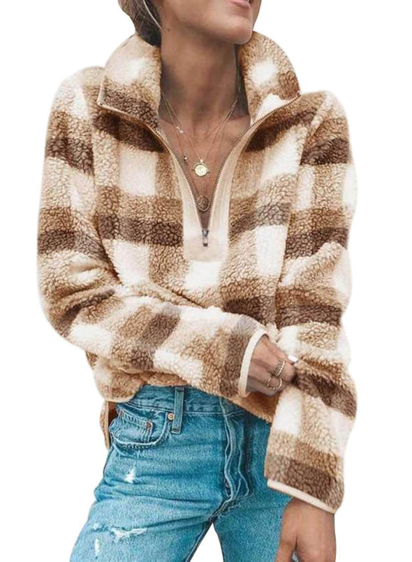 V Neck Long Sleeve Furry Sweatshirt(Hot Sale)-Order one SIZE UP  than Casual