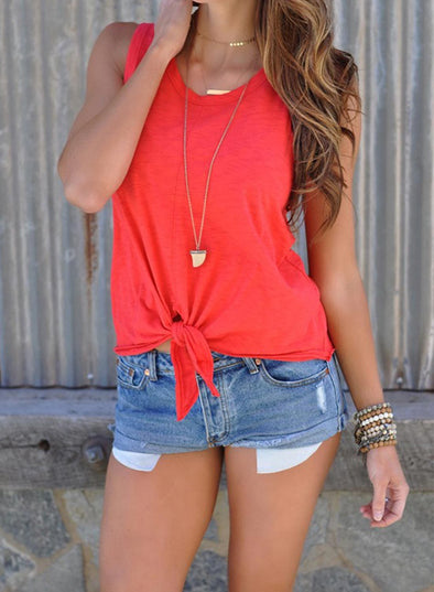 Summer Sleeveless Shirt Blouse Front Tie Knot Cami Tank Tops