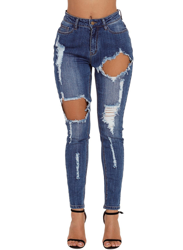 Medium Blue Wash Roll-up Cuff Distressed Jeans