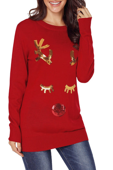 Long Sleeve Sequin Sequined Pullover Sweater