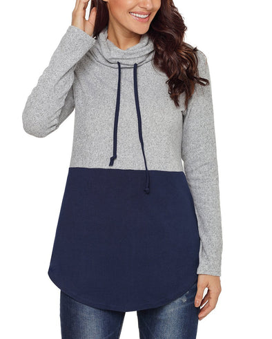 Colorblock Drawstring Cowl Neck Sweatshirt