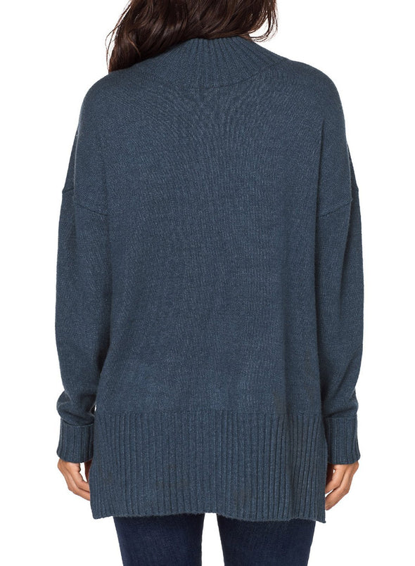 Turn-up Sleeve Turtle Neck Sweater