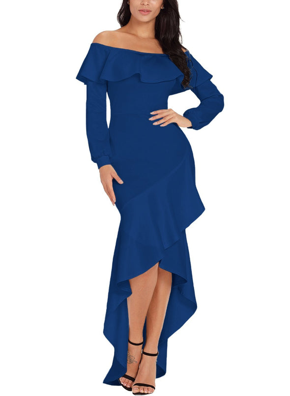 Lantern Sleeve Asymmetric Ruffle Hem Evening Dress