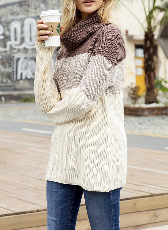 Hot Seller Cowl Neck Color Block Sweater